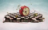 Podium met klok, kaarten en touw — Stockfoto