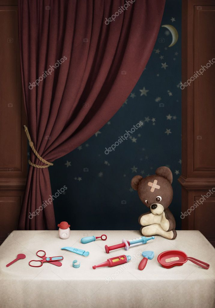 Room with  table and toys. Card, background or illustration. Computer Graphics. — Stock Photo #9087973