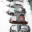 Snowy parking — Stock Photo