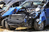 Blue car crash — Stock Photo