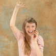 Excited phoning blonde — Stock Photo