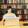 Boy with laptop — Stock Photo