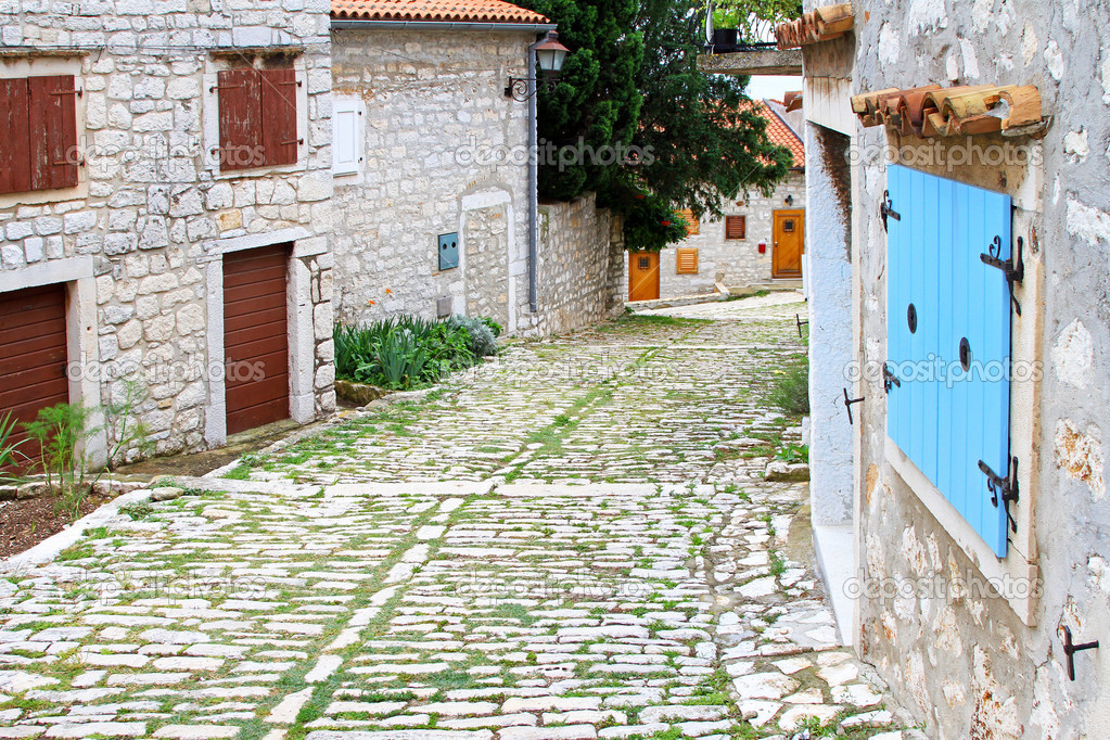 Cobblestone street in old city of Rovinj — Stock Photo #8480003