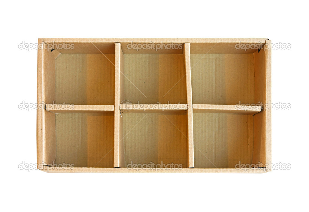 Open recycled cardboard box with compartment separators — Stock Photo #8523356