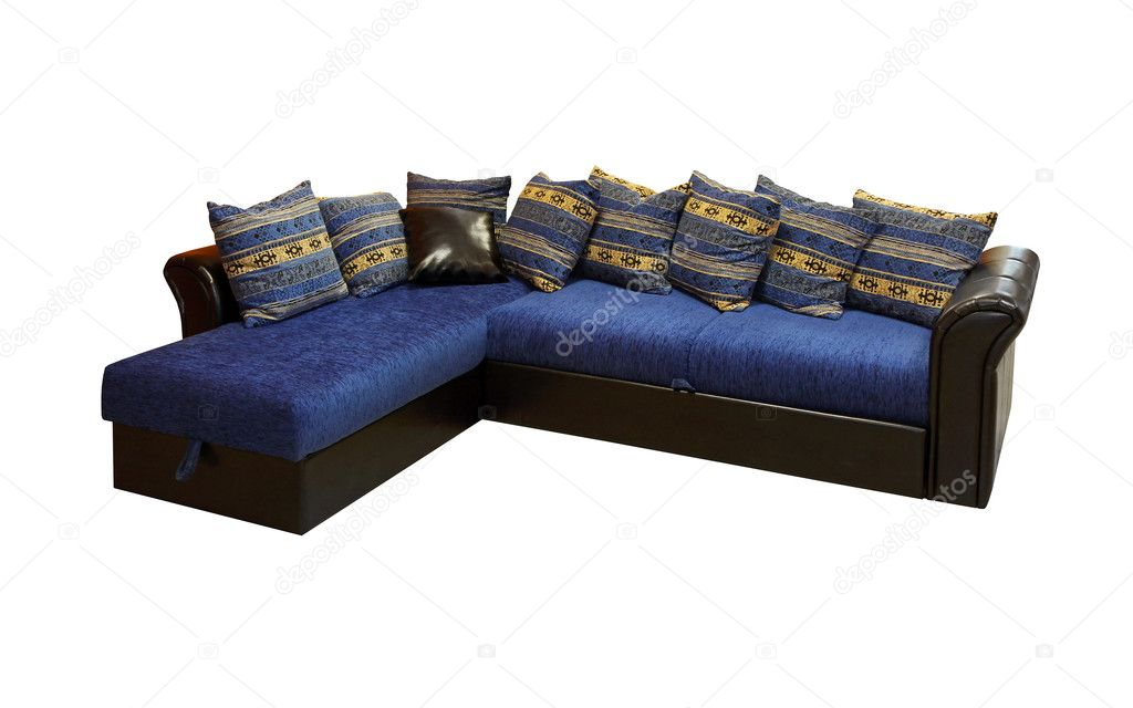 Blue corner set furniture isolated included clipping path — Stock Photo #8808281