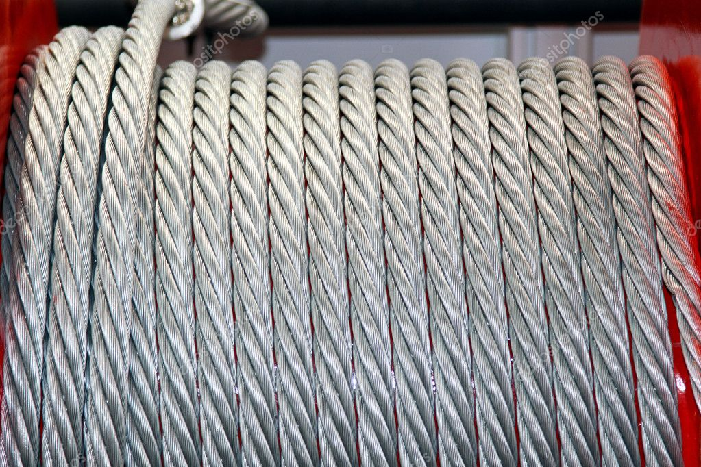Winch coil with metal cable wire — Stock Photo #9286613