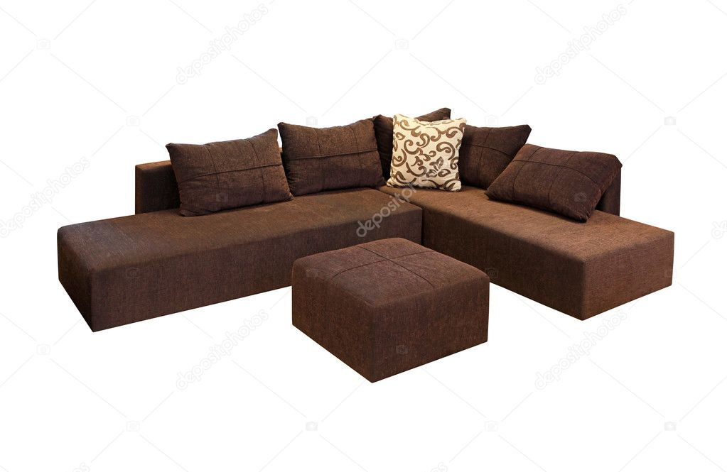 Brown corner set furniture isolated included clipping path — Stock Photo #9591518