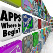 Foto Stock: Apps Where to Begin Wall of App Tiles Many Confusing Choices