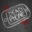 Dead Phone Chalk Outline Pavement Damaged Discarded - Stock Photo