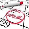 Deadline Word Circled on Calendar Due Date — Stock Photo
