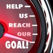 Help Us Reach Our Goal Speedometer Fundraiser Support - Stock Photo