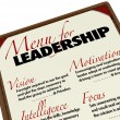 Menu for Leadership Qualities Desirable in Manager Leader - Stock Photo