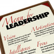Menu for Leadership Qualities Desirable in Manager Leader — Stock Photo