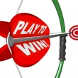Play to Win Determination Resolve Bow Arrow Target - Stock Photo