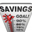 Savings Thermometer Measuring Money Nestegg Increase - Stock Photo