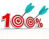 100 Percent Arrows in Targets Perfect Score — Stock Photo