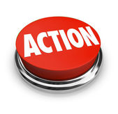 Action Word on Red Round Button Be Proactive — 图库照片