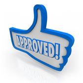 Approved Blue Thumb's Up Symbol Like Agreed Accepted — Stock Photo