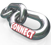 Connect Word on Metal Links Networking Connections — Stock Photo