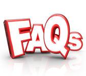 Faq часто задаваемые вопросы 3d буквами акроним — Стоковое фото