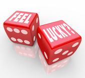 Feel Lucky Question on Dice Winning Confidence — Stock Photo