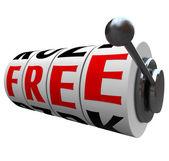 Free Word Slot Machine Wheels No Cost Save Money — Stock Photo