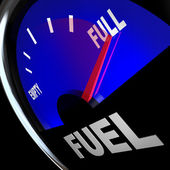 Fuel Gauge Needle Points to Full Gas Tank — Stock Photo