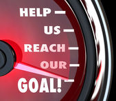 Help Us Reach Our Goal Speedometer Fundraiser Support — Stock Photo