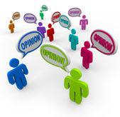 Opiniones hablando comentarios y retroalimentación discurso burbujas — Foto de Stock