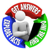 Persoon op laptop zoeken naar informatie online onderzoek — Stockfoto