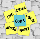 Goals on Sticky Notes Health Wealth Career Love — Stock Photo