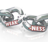 Weakness Word on Breaking Weak Chain Links — Zdjęcie stockowe