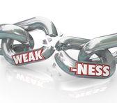 Parola di debolezza a rompere i legami deboli della catena — Foto Stock