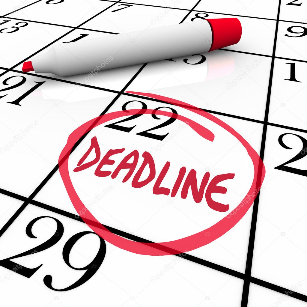 The word Deadline circled on a calendar to remind you of an important due date or countdown for your final answer, payment, project completion, or other vital milestone  Stock Photo #10087881