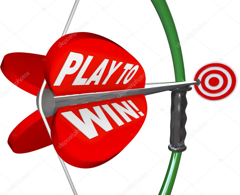 The words Play to Win on a bow and arrow pointing at a target to represent determination, focus and resolve in aiming to meet your goal and achieve success — Stock Photo #10088090