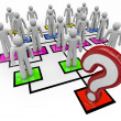 Question Mark Lack of Leadership Org Chart - Stock Photo