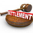 Settlement Word Gavel Lawsuit Decision Settled — Stock Photo