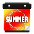 Summer Sun Page Wall Calendar Date Start New Season - Stock Photo