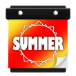 Summer Sun Page Wall Calendar Date Start New Season — Stok fotoğraf