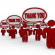 Stock Photo: Many Customers Say Thank You in Speech Bubbles