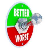 更好地 vs 更糟切换开关恢复良好的健康 — 图库照片