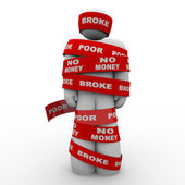 Broke Poor Person Wrapped in Tape Trapped in Debt — Stock Photo