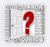 Kapı açma bilgi gerçekler trivia biliyor muydun — Stok fotoğraf
