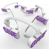 Give Words Connected Fund-Raising Spreading the Word — Stock Photo