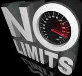 No Limits Speedometer Words Unlimited Potential — Stock Photo