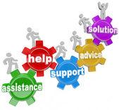 Sur les engrenages en aidant les autres à atteindre la solution — Photo