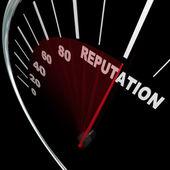 改善您的常规结果的声誉车速表 — 图库照片