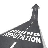 Rising Reputation - Road Arrow Up Improved Stature Opinion — 图库照片