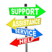 Service Assistance Support Help Arrow Signs Point to Solution — Stock Photo