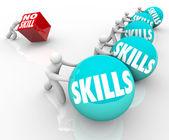 Umiejętności vs konkurencja nie umiejętności pracowników niewykwalifikowanych i wykwalifikowanych — Zdjęcie stockowe